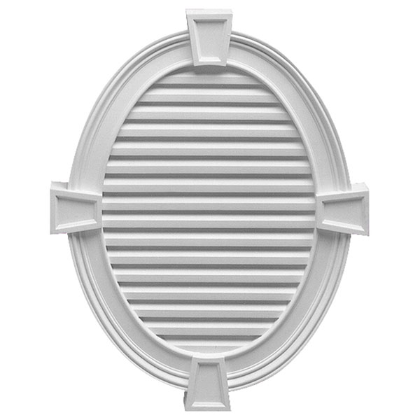 """30""""W x 37 1/2""""H Vertical Oval Louver, with Decorative Trim and Keystones, Decorative"""