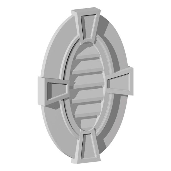 """20""""W x 29""""H Oval Louver, Vertical with Flat Trim and Keystones, Decorative"""