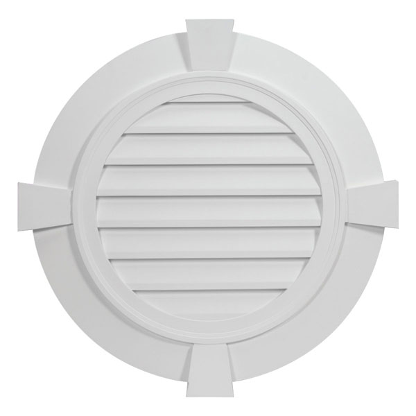 "32 27/32""W x 32 27/32""H x 2 3/8""P Round Louver, with 3 1/2"" Flat Trim and Keystones, Decorative"