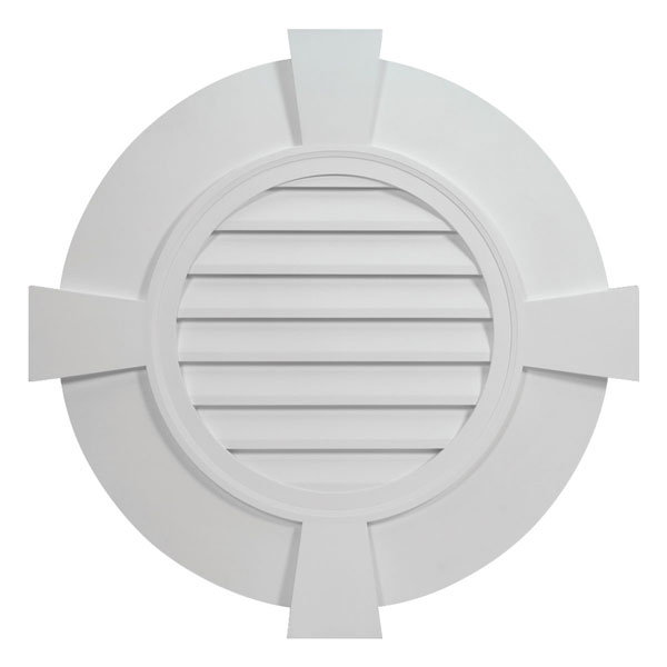 "38""W x 38""H Round Louver, with 5 1/2"" Flat Trim and Keystones, Decorative"