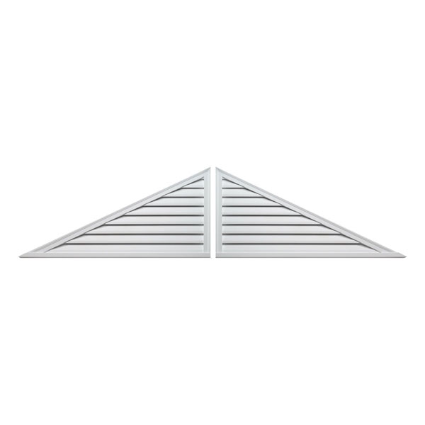 "60""W x 25""H Two-Piece Triangle Louver, 10/12 Pitch, Decorative"