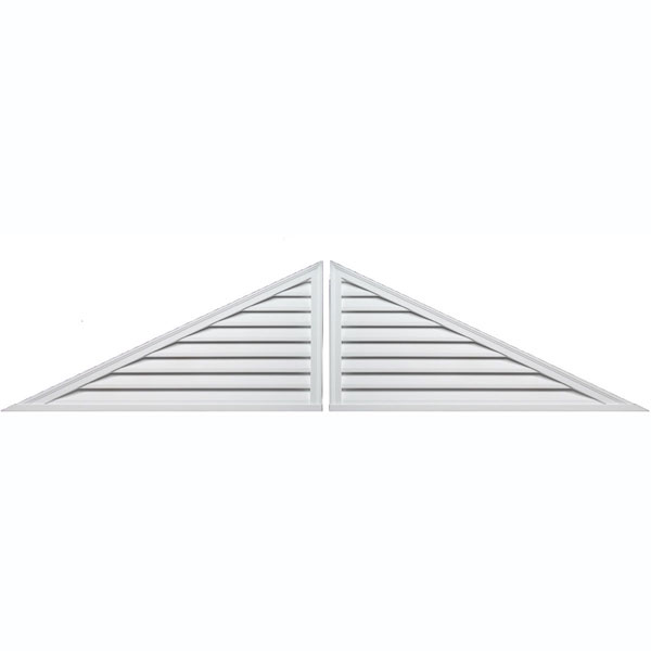 "60""W x 30""H Two-Piece Triangle Louver, 12/12 Pitch, Decorative"