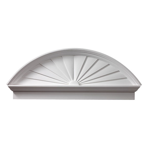 "54""W x 58 1/2""OW x 21 3/8""H x 3 1/8""P Combination Sunburst Pediment, Urethane"