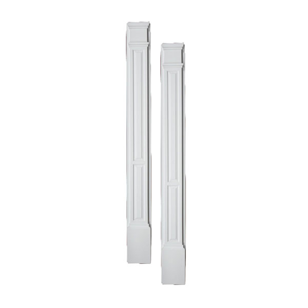 """11""""W x 108""""H x 3 1/2""""P Double Panel Pilaster, with Plinth Block, (set of 2)"""