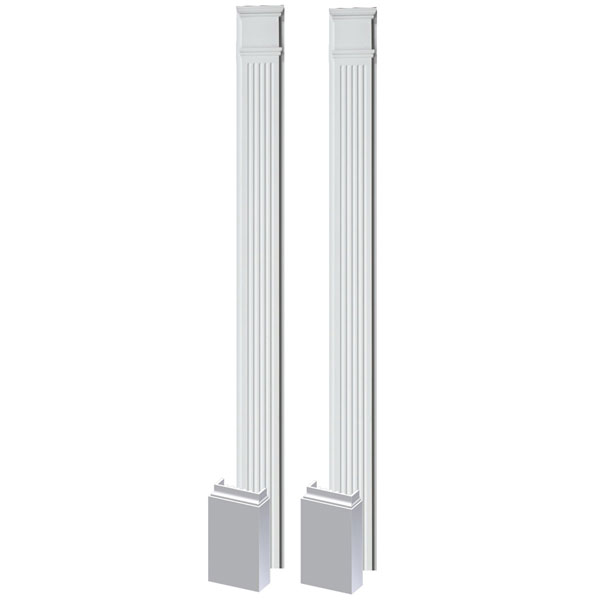 "9""W x 102""H x 3""P Fluted Pilaster, Adjustable Plinth Block, (set of 2)"