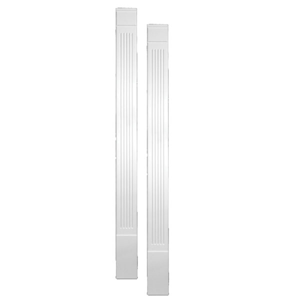 "9""W x 90""H x 1 5/16""P Fluted Economy Pilaster, Moulded (one piece) with Plinth Block, (set of 2)"