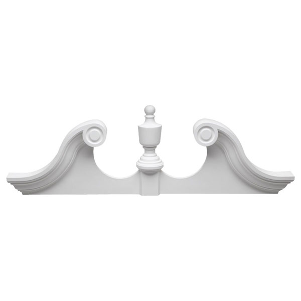 "93 1/4""W x 29 1/2""OH x 4 1/2""P Rams Head Pediment, Urethane"