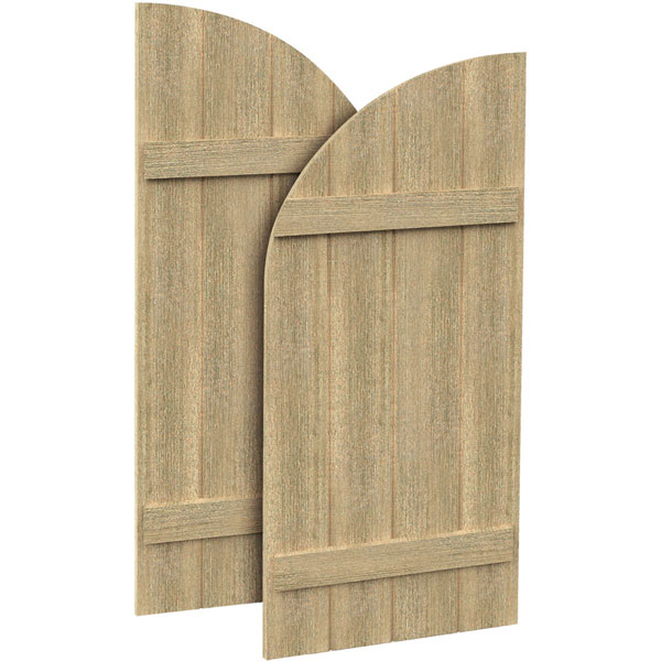 4 Boards w/ Quarter Round Arch Top and 2 Battens Rough Sawn Cedar Faux Wood Shutters (Per Pair)