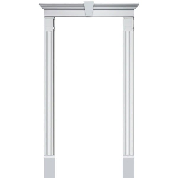 Single Door Surround Kit with Crosshead w/ Keystone & Fluted Pilasters