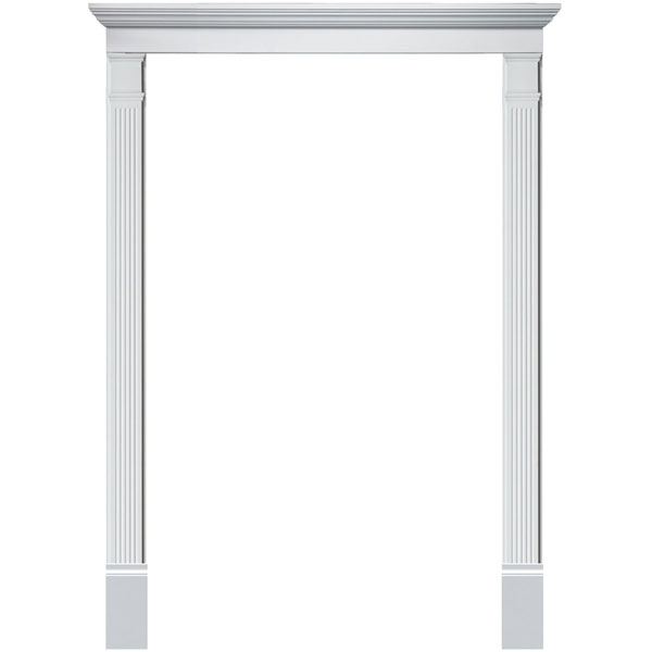 Single Door Surround Kit with Crosshead & Fluted Pilasters (For doors w/ single sidelite)