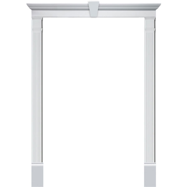 Single Door Surround Kit with Crosshead w/ Keystone & Fluted Pilasters (For doors w/ single sidelite)