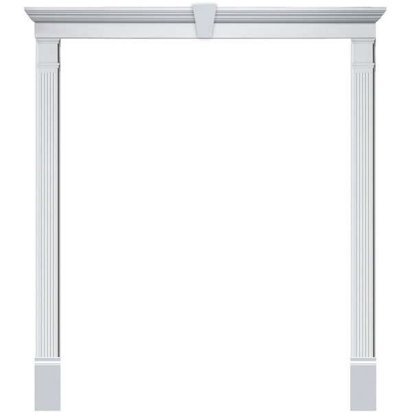 Single Door Surround Kit with Crosshead w/ Keystone & Fluted Pilasters (For doors w/ double sidelites)
