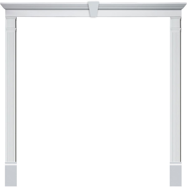 Double Door Surround Kit with Crosshead w/ Keystone & Fluted Pilasters