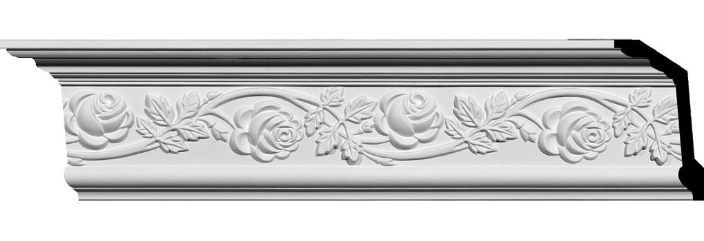 "5 1/2""H x 3 3/4""P x 6 3/4""F x 94 1/2""L Rose Crown Moulding"
