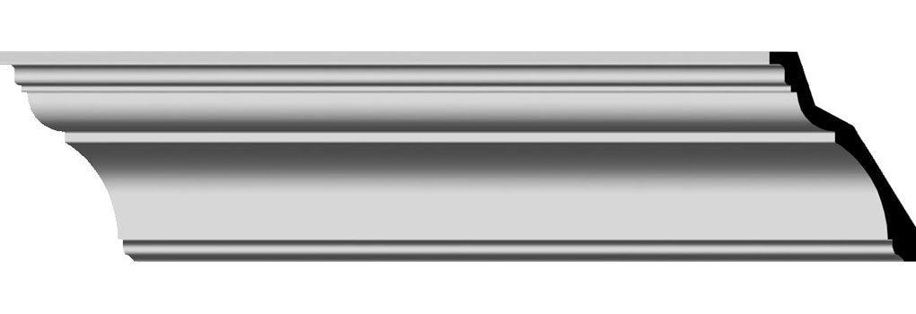 "5 1/2""H x 3 7/8""P x 6 3/4""F x 96""L Traditional Smooth Crown Moulding"