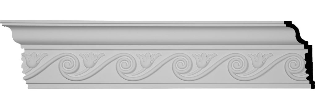 "6 1/4""H x 2 3/4""P x 7""F x 96""L, (5 3/8"" Repeat), Floral Crown Moulding"