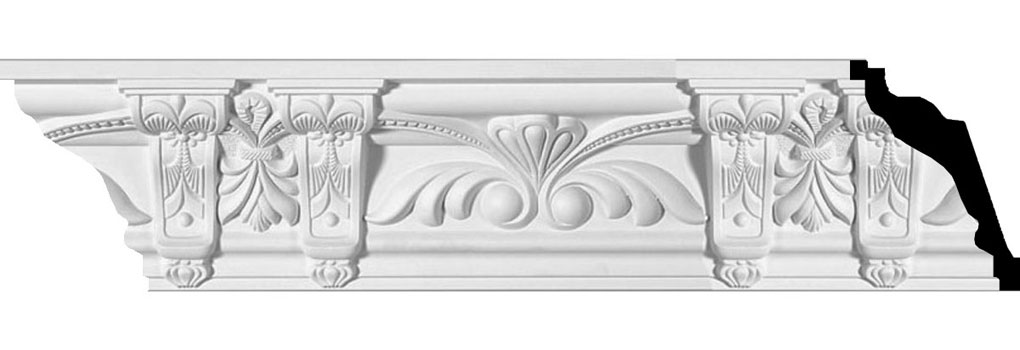 "4 7/8""H x 4 1/4""P x 6 1/2""F x 95 5/8""L, (13 5/8"" Repeat), Jonee Crown Moulding"