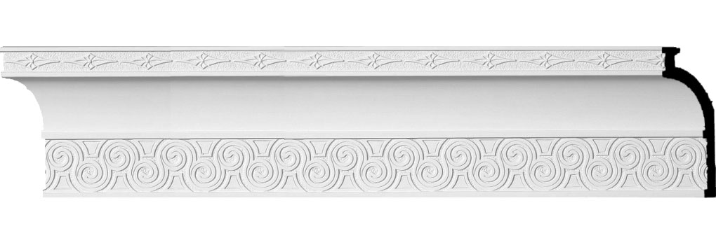 "5 5/8""H x 2 1/4""P x 6""F x 96""L, (2 1/8"" Repeat), Bedford Crown Moulding"